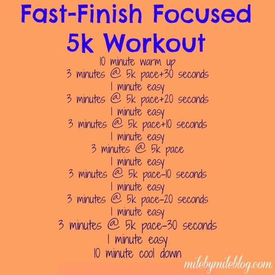 A workout to get your ready for finishing a 5k fast and strong.