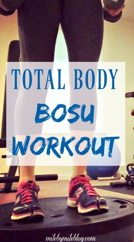 A total body workout that uses the bosu and focuses on strength training with cardio intervals