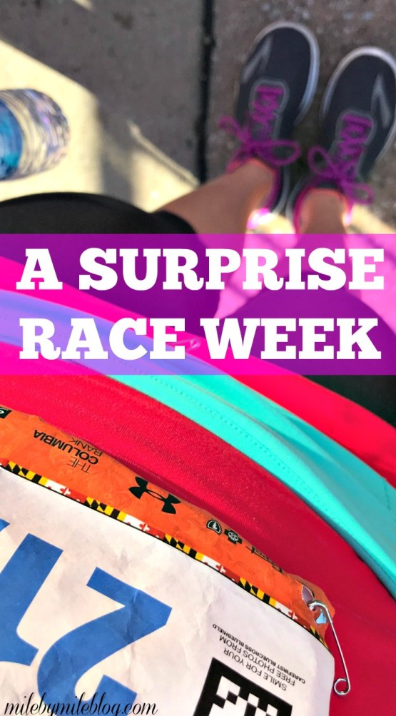 Last week I ran a half-marathon that I signed up for at the last minute. Click post to read about the week leading up to this surprise race.