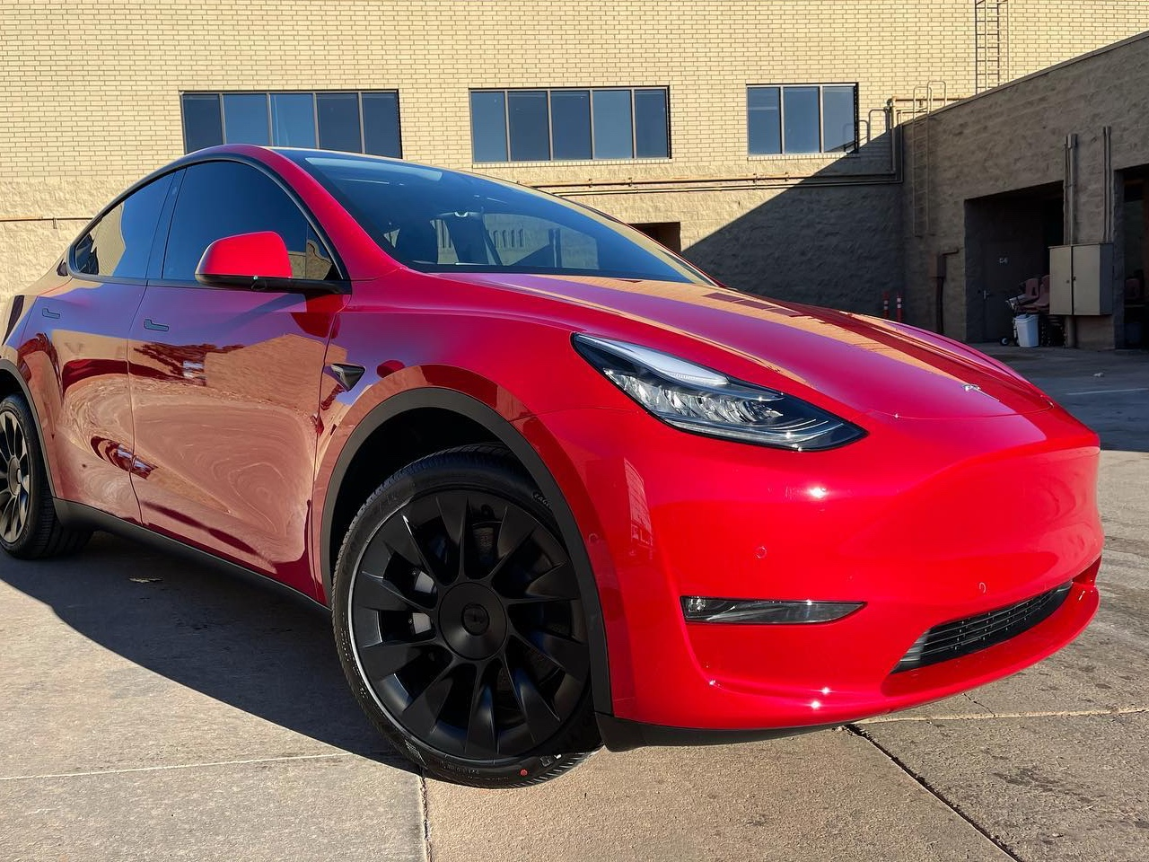 Tesla Model Y front view Full Front End PPF + Ceramic Coating + Ceramic Tint!