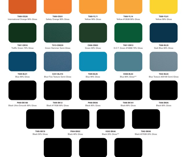 Car Paint Colours Chart Powder Coat Color Charts Mile High Powder Coating Inc
