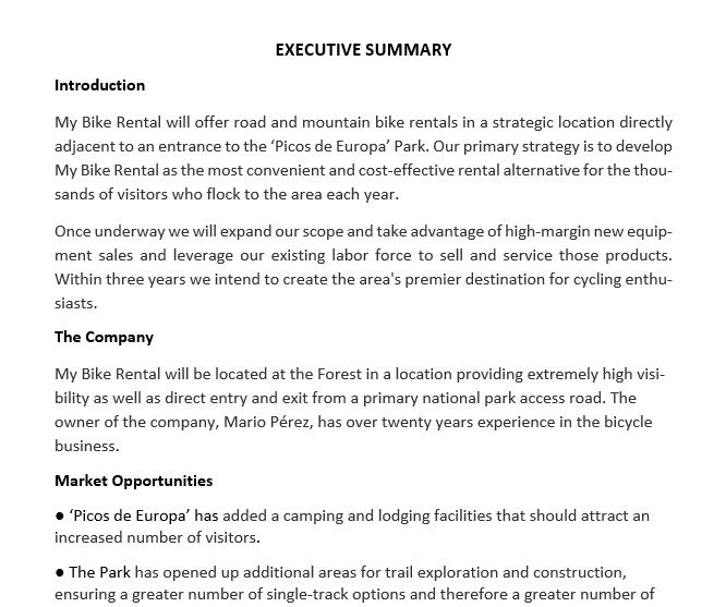 modelo resumen ejecutivo de una empresa resume