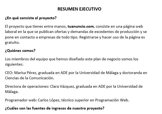 ejemplo de resumen ejecutivo de proyecto