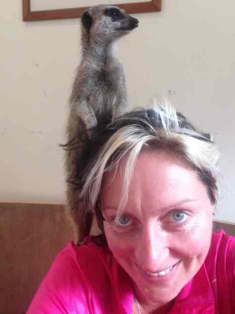 Milene with meerkat