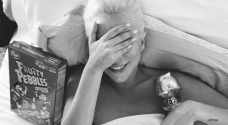 Lady Gaga festejou o Globo com cereais