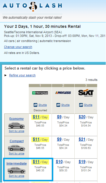 Autoslash.com doesn't show enterprise, or other car rental companies as part of a new search--but as a reprice they're allowed to do so. It can be confusing for someone who's never used their site before.