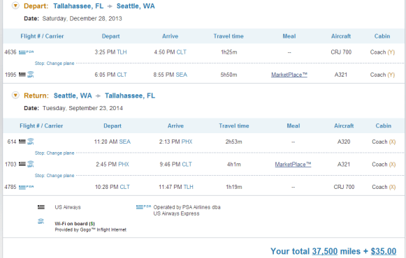 This return flight is awful--but just the thing I wanted to find for my buddy James.  A more complicated route, with very tight connections. The total includes the 5,000 mile US Airways Cardholder savings, ending up just 7,500 miles above the 30,000 mile one way.