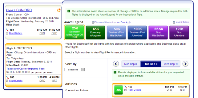 Notice our flight back from CUN-ORD is the same flight we found in step one during our alaskaair.com search.