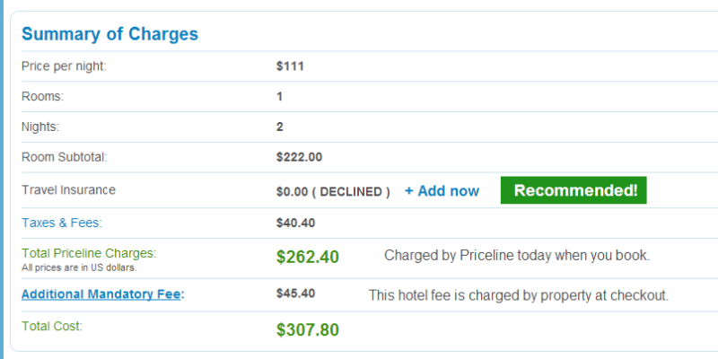 Take note of the Resort fee--and compare it to the resort fee the hotel you think you're booking is offering. In this case the $45.20 is exactly identical to the Hyatt Regency Orlando.