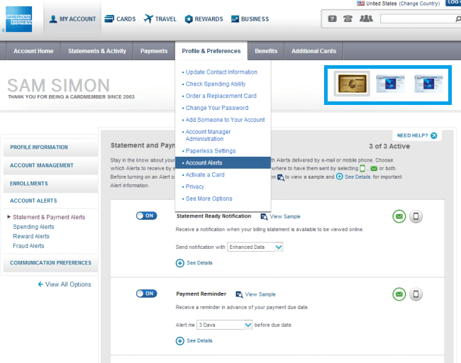 Find Amex Alerts under Profile & Preferences, Account Alerts. Make sure to set the alerts for all of your Amex Cards by clicking each card in the top right.