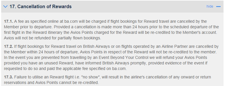 BA Cancellation Policies