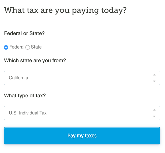 Pay federal taxes online: Select Federal, State, US Individual Tax