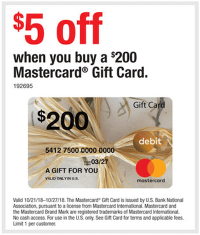 discounted mastercard gift card staples