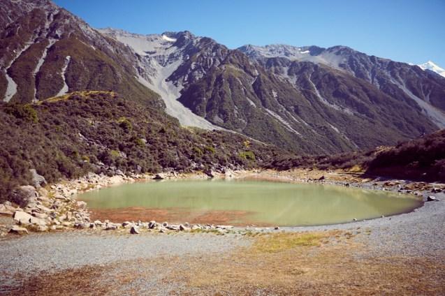 Blue Lakes, blaue Seen, Mount Cook, Nationalpark, NP, green water, rainwater, Regenwasser, grüne Seen, gruene Seen, Roadtrip, Neuseeland, New Zealand, Südinsel, South Island