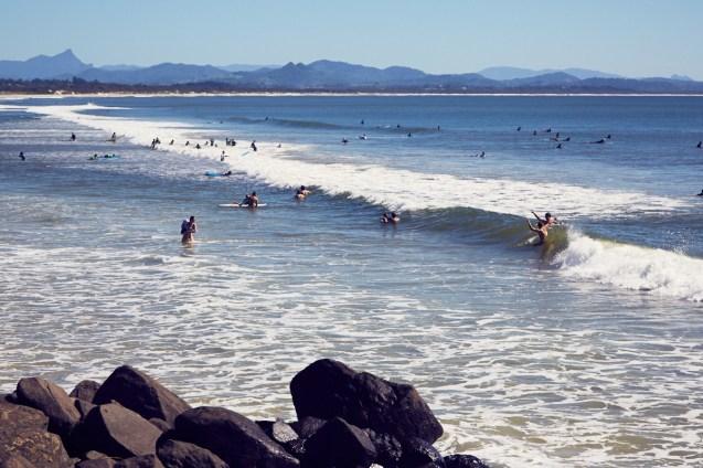 Byron Bay, Schwimmer, fun, having a good time, Wellenhüpfen, schwimmen, Urlaub, reisen, roadtrip,