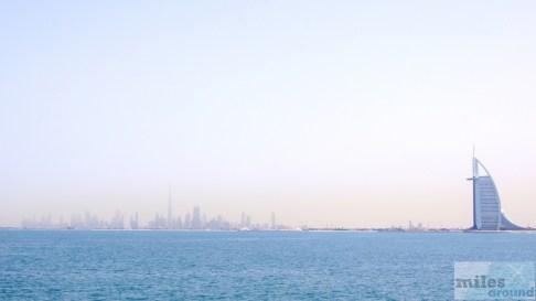 Blick auf Downtown Dubai von der Palm Jumeirah