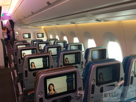 In-flight Entertainment in der Economy Class von Singapore Airlines