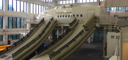 Boeing 777 and Airbus A380 mock-up with emergency slide