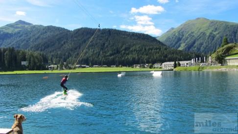 Wakeboard-Anlage auf dem Davoser See