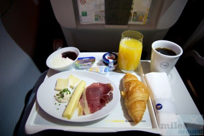 Frühstück in der Lufthansa Business Class im Airbus A320