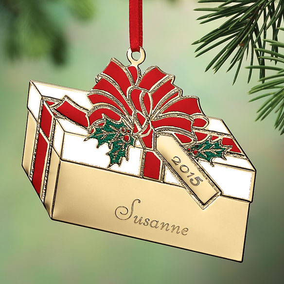 Custom Brass Christmas Ornaments Present Ornaments