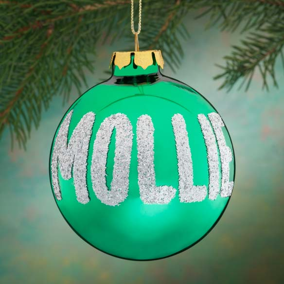 Personalized Name Or Date Glitter Ornament Christmas