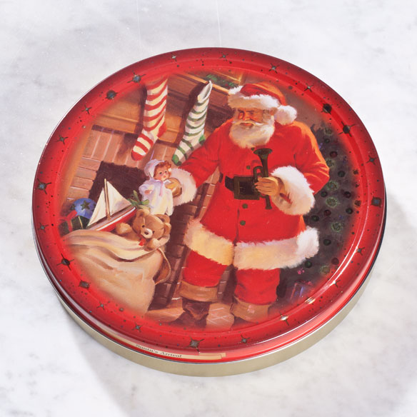 Classic Santa Christmas Tin With Danish Butter Cookies