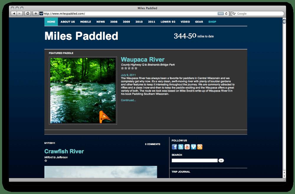 Milespaddled.com 2008
