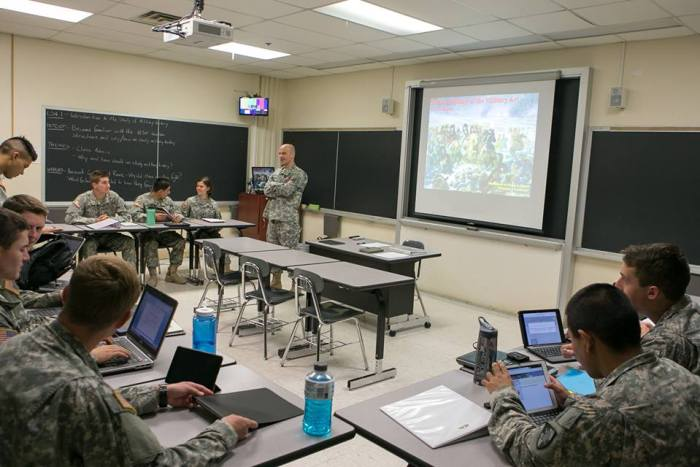 A typical classroom at West Point, with COL Musteen leading the study of military history