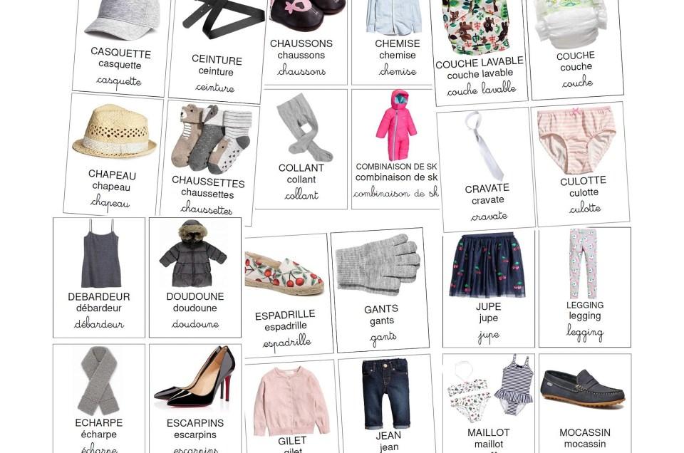 cartes de nomenclature des vêtements à télécharger