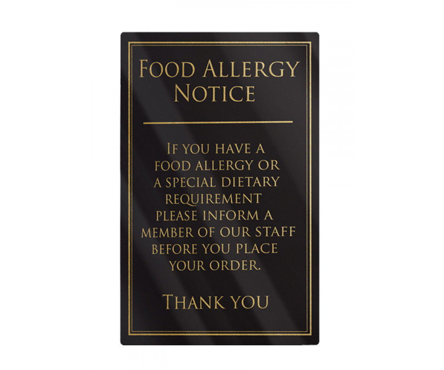 Food Allergy Notice Frame Options Traditional Bar
