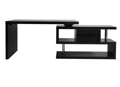 bureau design modulable avec rangement 2 tiroirs amovible noir laque max