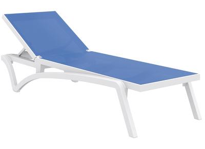 chaise longue ajustable bleue a roulettes corail