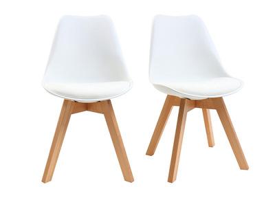 chaises design blanches avec pieds bois lot de 2 pauline