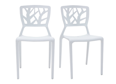 chaises design blanches empilables interieur exterieur lot de 2 katia