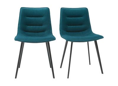 chaises design en velours bleu petrole lot de 2 parker