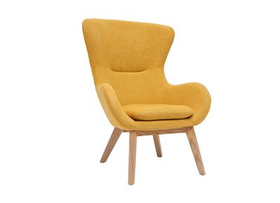 fauteuil scandinave tissu effet velours jaune moutarde et bois eskua