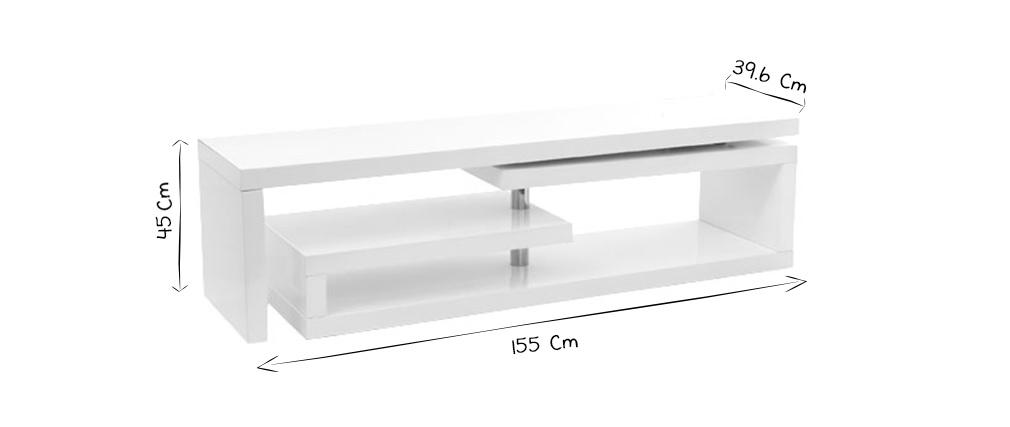 meuble tv design laque brillant blanc