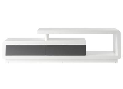 meuble tv design laque blanc avec tiroirs gris etana