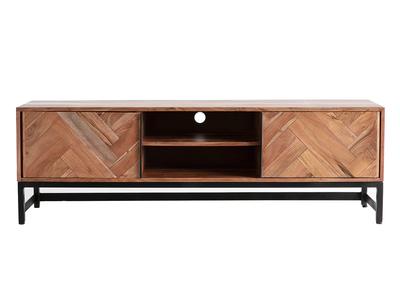 meuble tv en acacia massif et metal noir stick