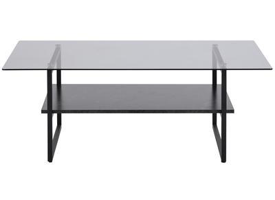 table basse design en verre fume avec etagere effet marbre noir zaho