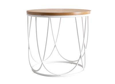 table d appoint bois et metal blanc d42 x h40 cm lace miliboo stephane plaza