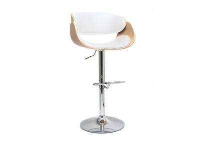 tabouret de bar design reglable blanc et bois clair bent