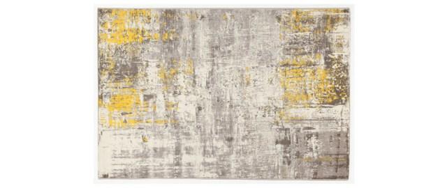 alfombra gris y amarilla