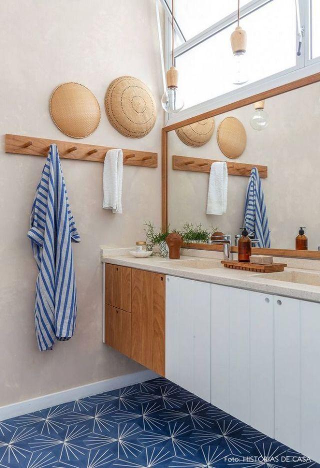 Güzel bir modern rustik banyo