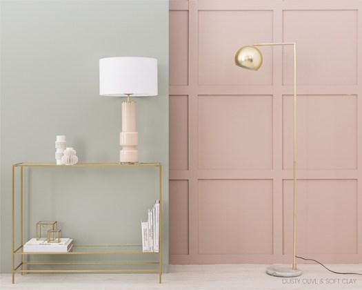 Colores Kenay Home y Bruguer, Verde oliva y rosa pálido