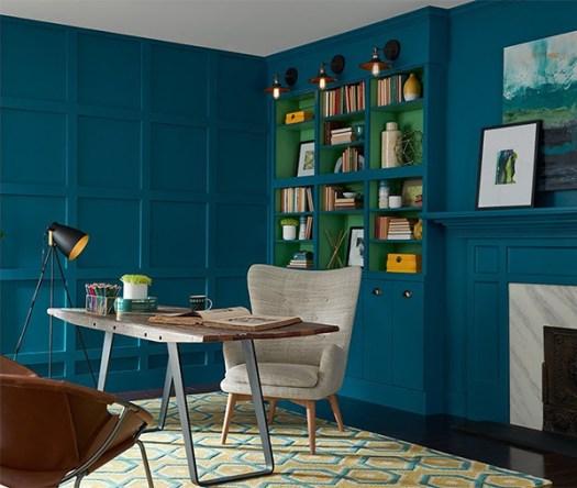 Color Azul Petróleo combinado con verde en paredes