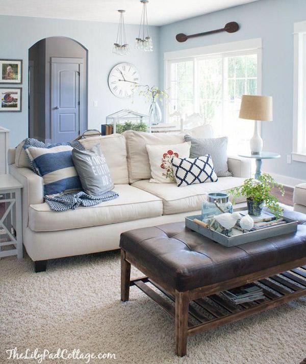 Oturma odası için Feng Shui renkleri: Mavi