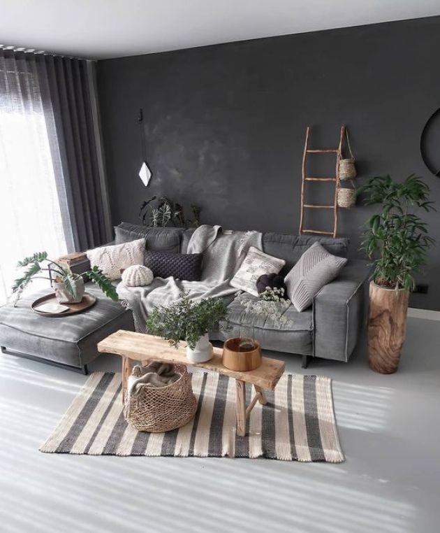 Gri kanepe ile birlikte siyah duvar rengi