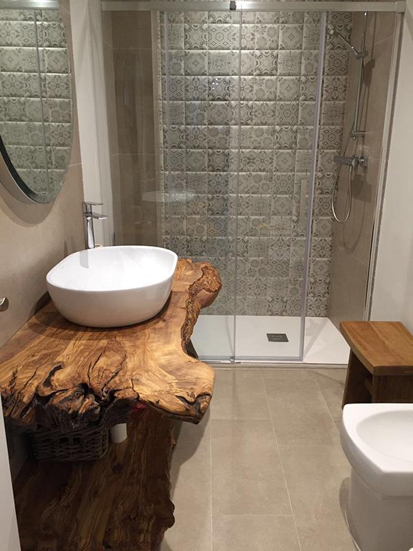 Yevea tezgahlı modern rustik banyo